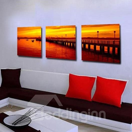 New Arrival Beautiful Bridge at Dusk 3-piece Cross Film Wall Art Prints