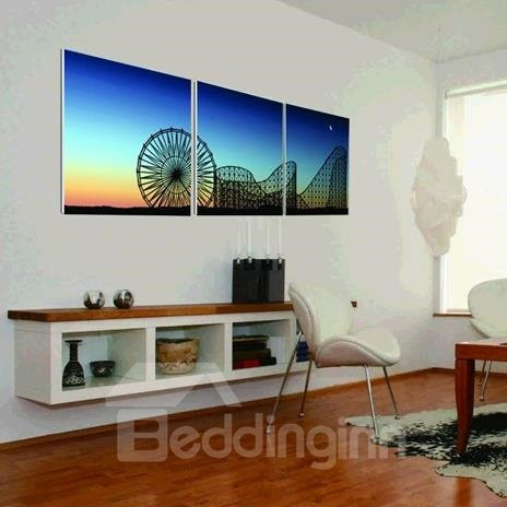 New Arrival Lovely Sky Wheel and Blue Sky Print 3-piece Cross Film Wall Art Prints