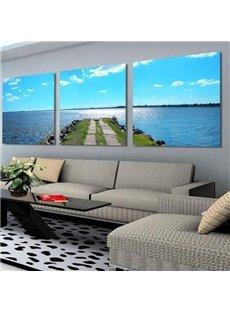 Beautiful Blue Sea and Beach Road Print 3-piece Cross Film Wall Art Prints