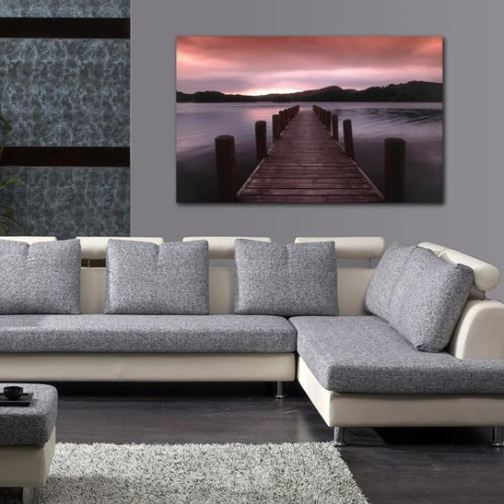 Elegant Sunset Lake Road Scenery Print Cross Film Wall Art Prints