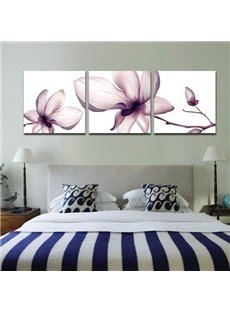 Beautiful Light Purple Flower Print 3-piece Cross Film Wall Art Prints