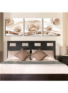 New Arrival Beautiful Beige Roses Print 3-piece Cross Film Wall Art Prints