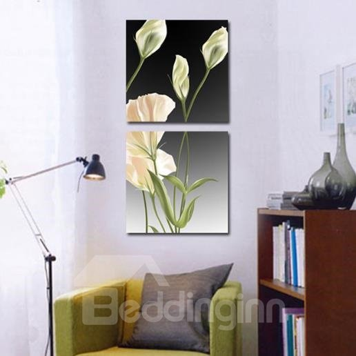 New Arrival Lovely White Flowers Green Leaves Print 2-piece Cross Film Wall Art Prints