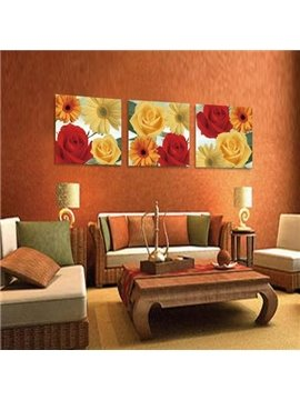 New Arrival Lovely Colorful Roses and Lilies Print 3-piece Cross Film Wall Art Prints