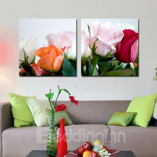 New Arrival Beautiful Lifelike Roses Print 2-piece Cross Film Wall Art Prints
