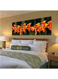Lovely Orange Flowers Print 3-piece Cross Film Canvas Art Prints