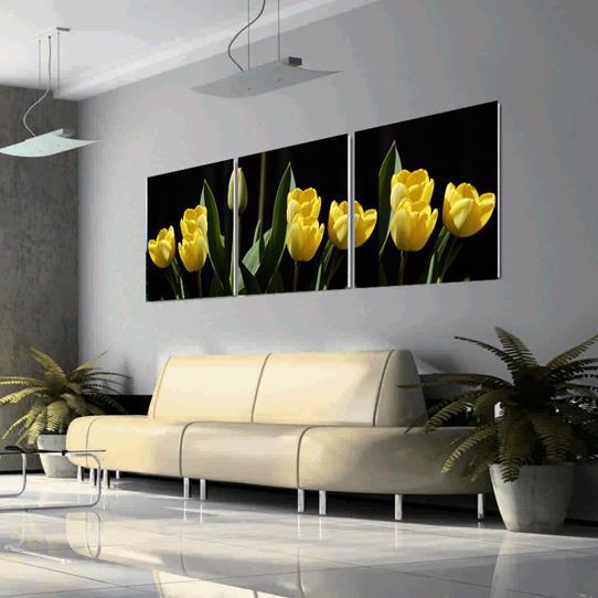 New Arrival Beautiful Yellow Tulips Print 3-piece Cross Film Wall Art Prints