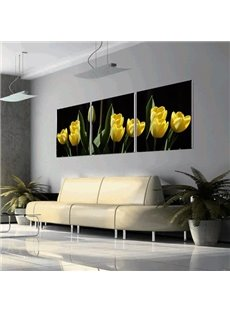 New Arrival Beautiful Yellow Tulips Print 3-piece Cross Film Wall Art Prints