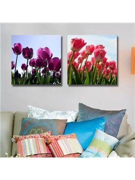 New Arrival Lovely Purple and Red Tulips Print 2-piece Cross Film Wall Art Prints