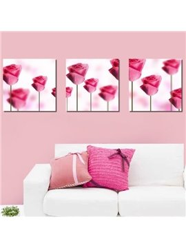 New Arrival Lovely Pink Roses Print 3-piece Cross Film Wall Art Prints