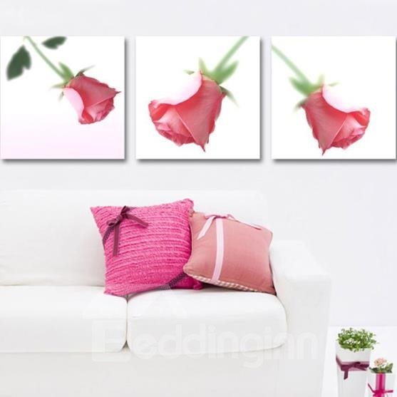 New Arrival Lovely Single Pink Rose Print 3-piece Cross Film Wall Art Prints