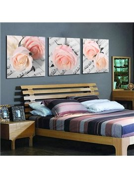 New Arrival Beautiful Pink Roses on the Musical Book Print 3-piece Cross Film Wall Art Prints