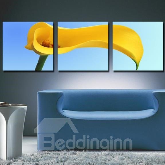 New Arrival Lovely Yellow Calla and Blue Sky Print 3-piece Cross Film Wall Art Prints
