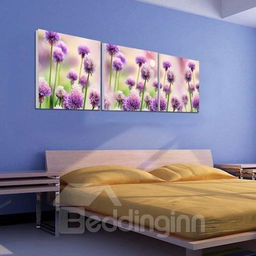 New Arrival Beautiful Purple Flowers Print 3-piece Cross Film Wall Art Prints