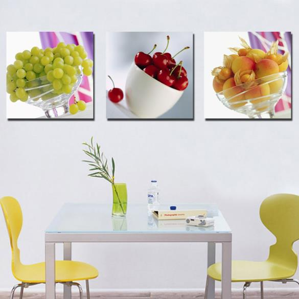 New Arrival Lovely Delicious Grapes and Cherries Print 3-piece Cross Film Wall Art Prints