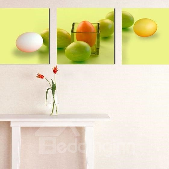 New Arrival Lovely Colorful Eggs Print 3-piece Cross Film Wall Art Prints