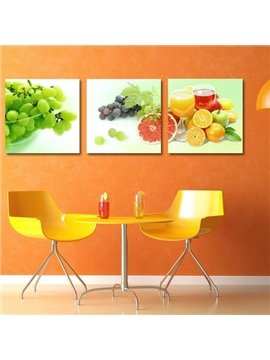 New Arrival Adorable Various Fruits Print 3-piece Cross Film Wall Art Prints