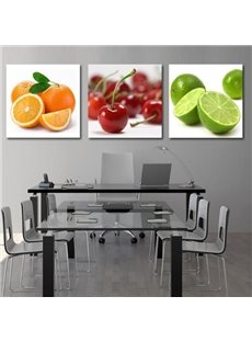 New Arrival Beautiful Colorful Fruits Print 3-piece Cross Film Wall Art Prints