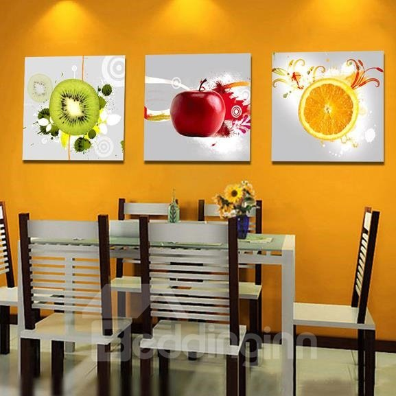 New Arrival Modern Style Colorful Fruits Print 3-piece Cross Film Wall Art Prints