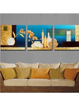 New Arrival Modern Style Abstract Pottery Print 3-piece Cross Film Wall Art Prints