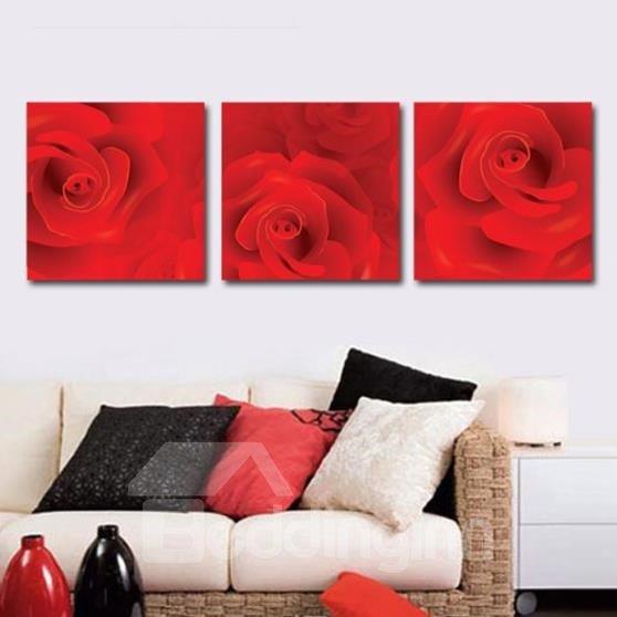 New Arrival Romantic Red Rose Print 3-piece Cross Film Wall Art Prints