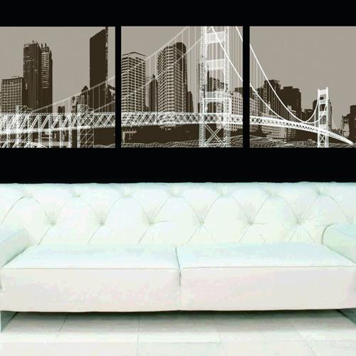 New Arrival Elegant Big City and Bridge Print 3-piece Cross Film Wall Art Prints