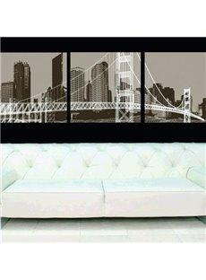 New Arrival Elegant Big City and Bridge Print 3-piece Cross Film Wall Art Prints