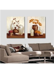 New Arrival Oil-painting Style Lovely Brown and White Vases Print 2-piece Cross Film Wall Art Prints