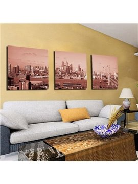 New Arrival Elegant Scenery of Metropolis Print 3-piece Cross Film Wall Art Prints