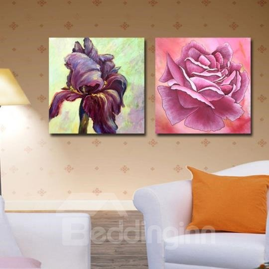 New Arrival Oil-painting Style Beautiful Blooming and Wizen Flowers Print 2-piece Cross Film Wall Art Prints
