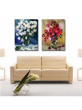 New Arrival Beautiful Blooming Flowers in the Vase Print 2-piece Cross Film Wall Art Prints