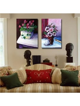 New Arrival Oil-painting Style Lovely Flowers in the Vase Print 2-piece Cross Film Wall Art Prints