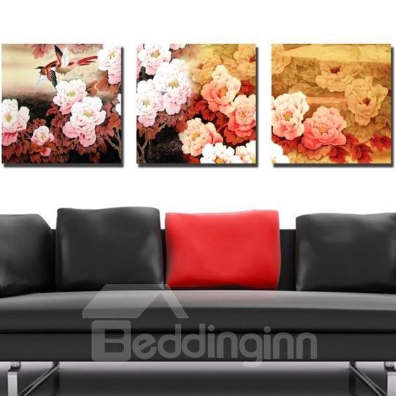 New Arrival Beautiful Peony Flowers Print 3-piece Cross Film Wall Art Prints