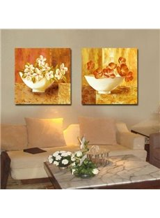 16×16in×2 Panels Yellow Background with Flowers in Bowl Printed Framed Wall Prints