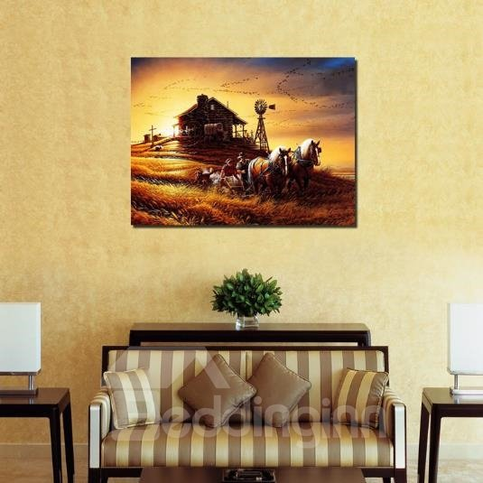 Farmhouse At Dusk: New Arrival Beautiful Farm Scenery At Dusk Print Cross