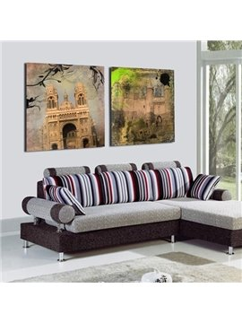 New Arrival Vintage Castles Print 2-piece Cross Film Wall Art Prints