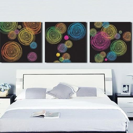 New Arrival Modern Abstract Colorful Circles Print 3-piece Cross Film Wall Art Prints