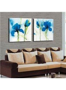 Amazing Blue Flowers Print 2-piece Cross Film Wall Art Prints