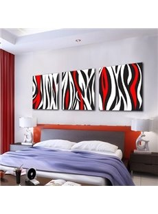 Modern Black and Red Irregular Lines Print 3-piece Cross Film Wall Art Prints