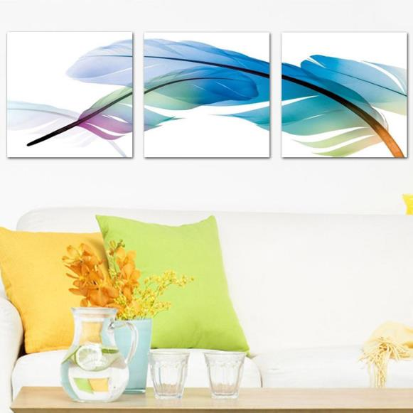 Lovely Colorful Feathers Print 3-piece Cross Film Wall Art Prints