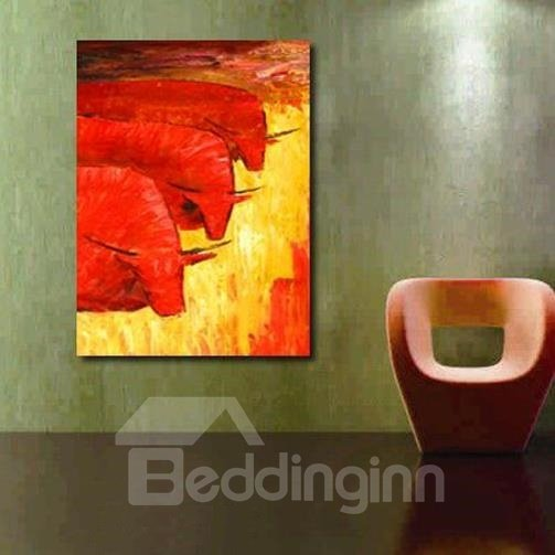 New Arrival Modern Lovely Red Cows Print Cross Film Wall Art Prints