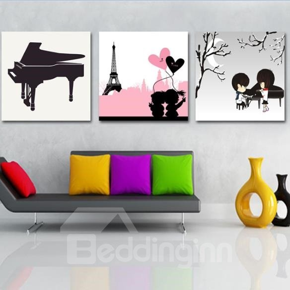 New Arrival Lovely Romantic Couple and Piano Print 3-piece Cross Film Wall Art Prints