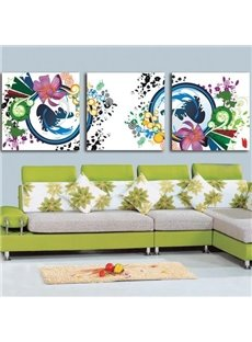 New Arrival Modern Style Beautiful Abstract Painting Print 3-piece Cross Film Wall Art Prints
