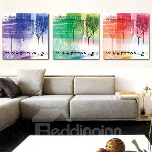 New Arrival Beautiful Colorful Trees and Letters Print 3-piece Cross Film Wall Art Prints