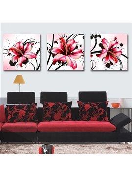 New Arrival Beautiful Red Lilies Print 3-piece Cross Film Wall Art Prints