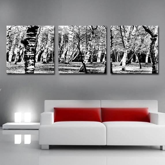 Elegant Grey Forest Print 3-piece Cross Film Wall Art Prints