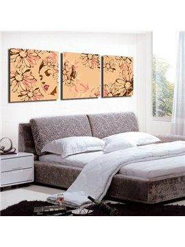 New Arrival Beautiful Lady and Flowers Print 3-piece Cross Film Wall Art Prints
