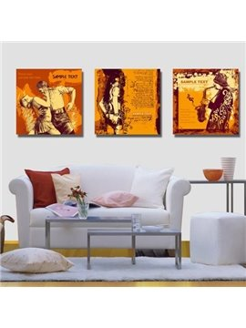 New Arrival Beautiful Human Figures Painting Print 3-piece Cross Film Wall Art Prints