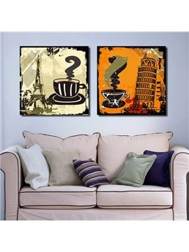 New Arrival Lovely Coffee and Famous Scenic Spots Print 2-piece Cross Film Wall Art Prints