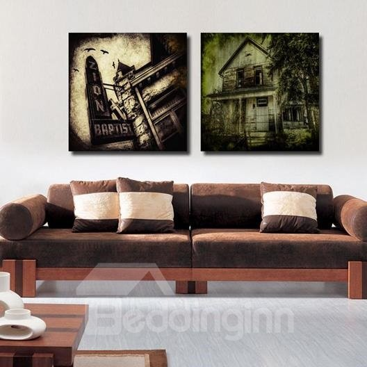 New Arrival Mysterious Antique Houses Print 2-piece Cross Film Wall Art Prints